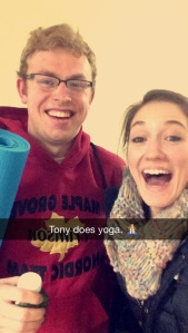 Tony takes yoga.