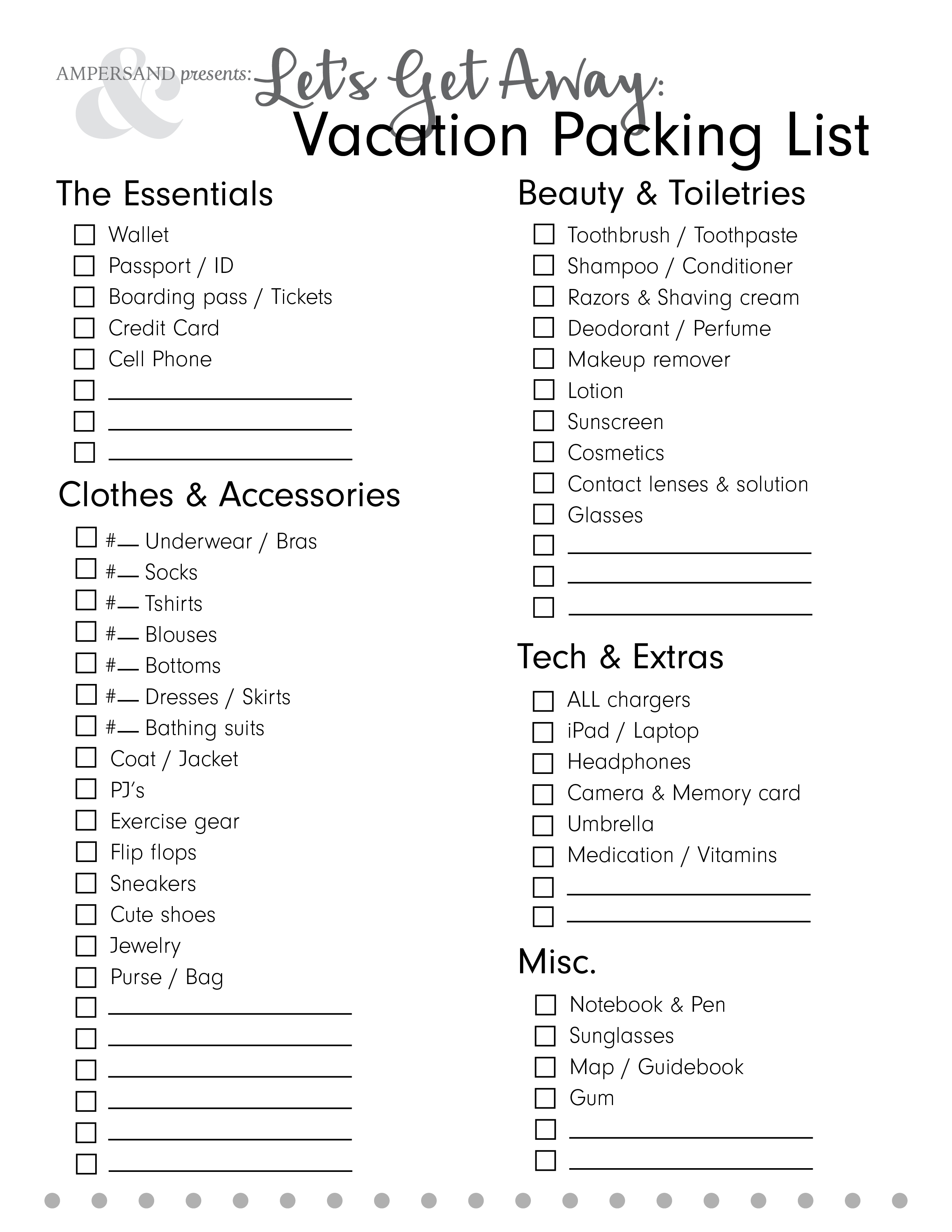 picture relating to Printable Packing List named Allows Buy Absent: Free of charge Printable Packing Checklist Ampersand