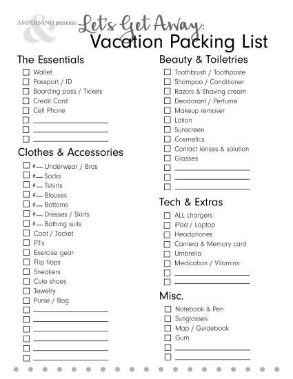 vacation packing list 2016 bw